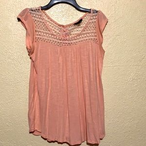 Coupe Knit Top Blouse Peach Cream W/Lace S